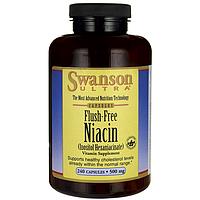 B-3 Ниацин & Инозитол, Flush-Free Niacin, Swanson, 500 мг, 240 капсул
