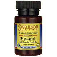 Метилкобаламин B12, Methylcobalamin High Absorption B-12, Swanson, 2.5 мг, 60 таблеток