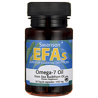 Омега 3-6-7-9, Omega-7 Oil From Sea Buckthorn Oil, Swanson, 450 мг, 30 Liq капсул