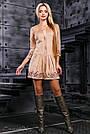 Молодёжное платье замша с вышивкой бежевое, фото 2