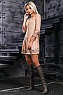 Молодёжное платье замша с вышивкой бежевое, фото 3