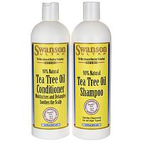 Шампунь и кондиционер, Tea Tree Oil Shampoo & Conditioner Combo, Swanson, 16 fl oz each жидкий