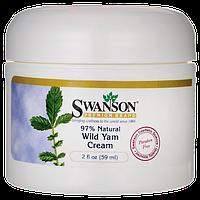 Дикий Ямс крем, Wild Yam Cream, 97% Natural, Swanson, 2 fl oz (59 мл) Cream