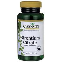 Стронция Цитрат, Strontium Citrate, Swanson, 340 мг, 60 капсул