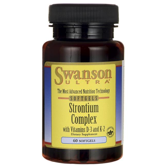 Strontium Complex with Vitamins D-3 & K-2, Swanson, 60 капсул