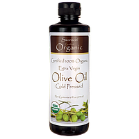 Certified 100% Organic Extra Virgin Olive Oil, Cold Pressed, Swanson, 16 fl oz (473 мл) жидкий