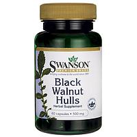 Скорлупа Черного ореха, Black Walnut Hulls, Swanson, 500 мг, 60 капсул