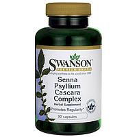 Senna Psyllium Cascara Complex, Swanson, 90 капсул