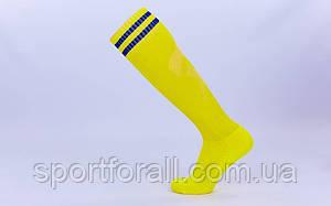 Гетры футбольные мужские CTM011 (терилен, р-р 40-45, желтый, синяя полоса)