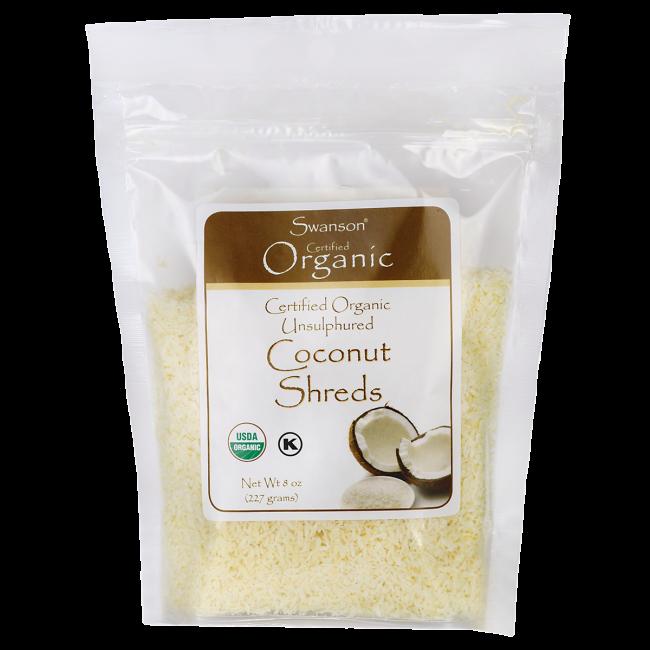 Certified Organic Unsulphured Coconut Shreds, Swanson, 8 oz (227 грамм) Pkg