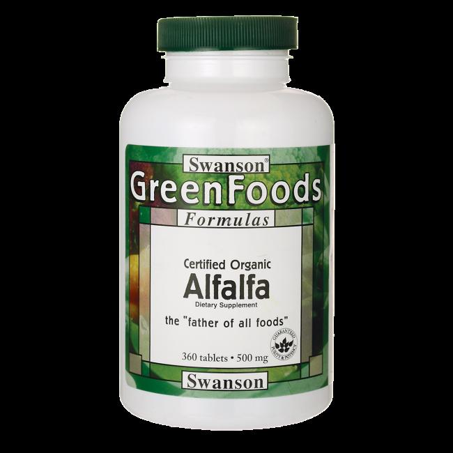 Люцерна, Certified Organic Alfalfa, Swanson, 500 мг, 360 таблеток
