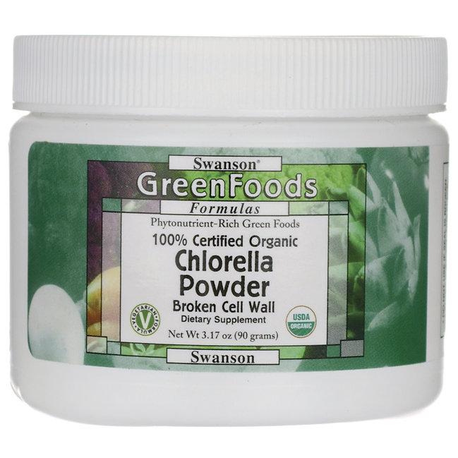 Хлорелла в порошке, 100% Certified Organic Chlorella Powder, Swanson, 3.17 oz (90 грамм) порошок