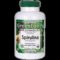 Спирулина, Spirulina, Swanson, 500 мг, 180 таблеток