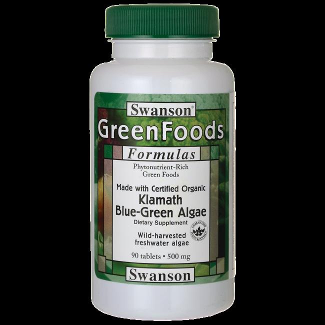 Made with Certified Organic Klamath Blue-Green Algae, Swanson, 500 мг, 90 таблеток
