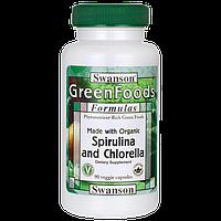 Спирулина & Хлорелла, Made with Organic Spirulina & Chlorella, Swanson, 90 капсул