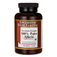 Аллицин, Maximum-Strength 100% Pure Allicin, Swanson, 12 мг, 100 таблеток