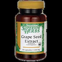 Экстракт Виноградных Косточек, Grape Seed Extract (Standardized), Swanson, 200 мг, 60 капсул