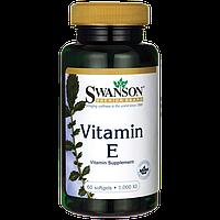 Витамин E, Vitamin E 1,000 IU, Swanson, 1.000 IU 60 капсул