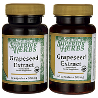 Экстракт Виноградных Косточек, Grape Seed Extract (Standardized), Swanson, 200 мг, 120 капсул