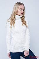 Теплый женский вязаный свитер под горло