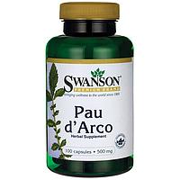 По Дарко, Pau d'Arco, 500мг, 100 капсул, Swanson, 500 мг, 100 капсул