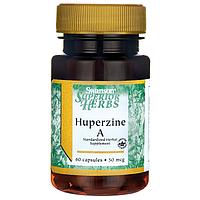 Гиперзин A, Huperzine A (Standardized), Swanson, 50 мкг, 60 капсул