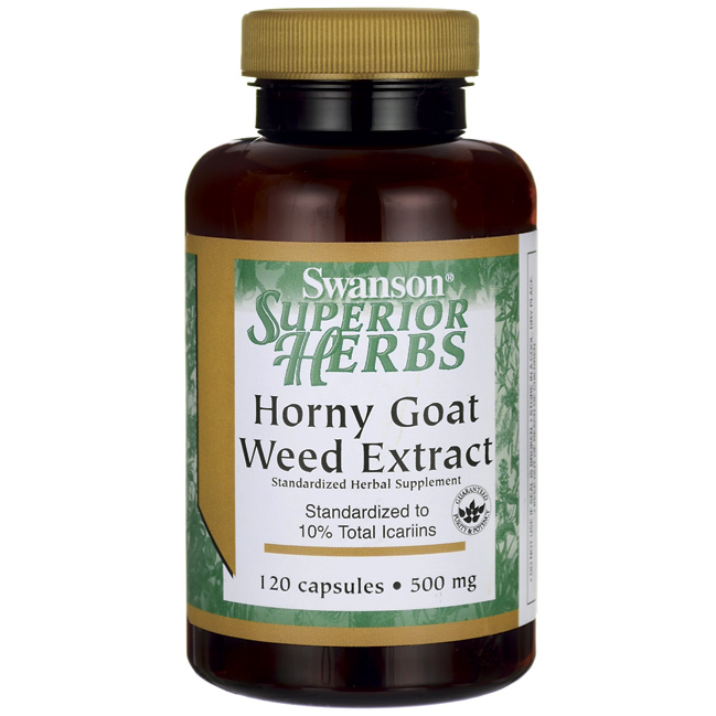 Horny Goat Weed Extract, Swanson, 500 мг, 120 капсул