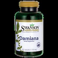 Листья Дамианы, Damiana Leaves, Swanson, 510 мг, 100 капсул