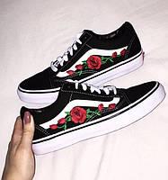 """Кеды женские Vans Old Skool Roses """"Черные с белой подошвой и розами"""""""