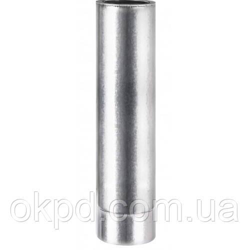 Труба диаметром 130/200 для дымохода из нержавеющей стали марки  AISI 201 в оцинкованном кожухе длинной 1 метр