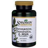 Глюкозамин Хондроитин МСМ, Glucosamine, Chondroitin & MSM, Swanson, 500/400/200 мг, 120 таблеток