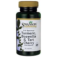 Куркума Босвелия Вишня, Full Spectrum Turmeric, Boswellia & Tart Cherry, Swanson, 60 капсул