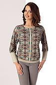 Женская трикотажная блузка бежевого цвета с рисунком. Модель Paula Top-Bis, коллекция осень-зима 2017
