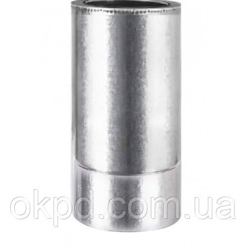 Труба диаметром 120/180 для дымохода из нержавеющей стали марки  AISI 201 в оцинкованном кожухе толщиной 1 мм