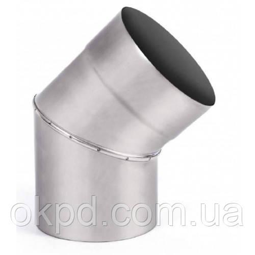 Колено 45 градусов диаметром 130 для дымохода из нержавеющей стали марки  AISI 201 толщиной 1 мм