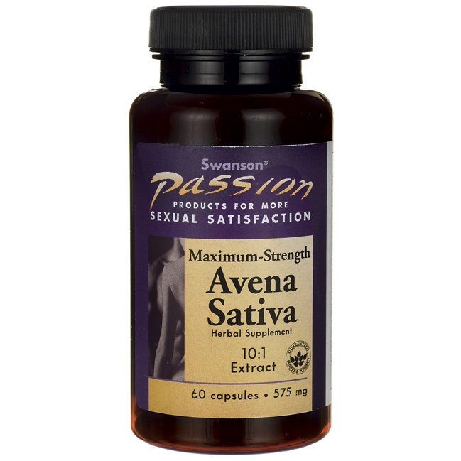Max Strength Avena Sativa Male Stamina, Swanson, 575 мг, 60 капсул