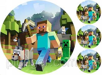 """Вафельная картинка для торта """"MineCraft"""", круглая (лист А4)"""