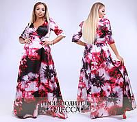 Платье в пол цветочный мрамор