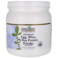 Протеин, All Natural Egg, Whey & Soy Protein Powder, Swanson, 1 lb (454 грамм) порошок