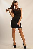 Короткое вечернее женское платье с кружевом
