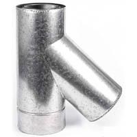 Тройник 45 градусов для дымохода из нержавеющей стали марки AISI 201 в оцинкованном кожухе диаметром 110/180 толщиной 1 мм