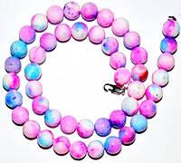 Бусы, ярко-розовый с голубым, D-6 мм   5_2_130