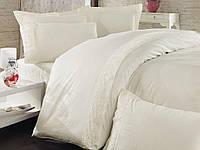 Сатиновое однотонное постельное белье ЕВРО, украшенное изящным гипюром  Nazenin - Турция