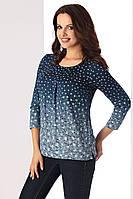 Женская блузка темно-синего цвета с рукавом три четверти. Модель Tina Top-Bis, коллекция осень-зима 2017-2018