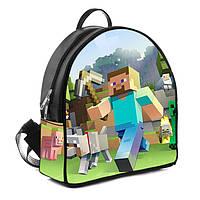 Черный детский рюкзак с рисунком Майнкрафт Minecraft