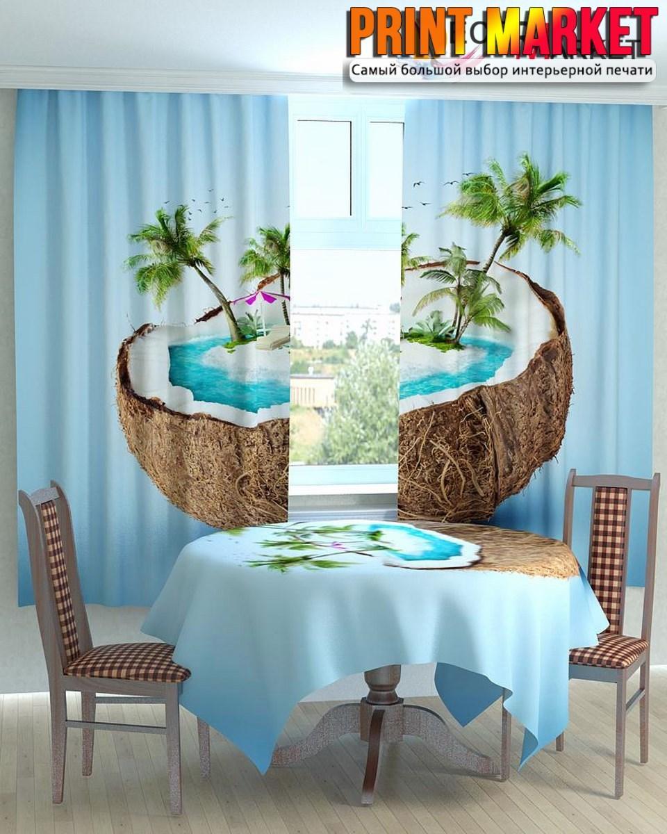 Фотошторы для кухни пальмы в кокосе