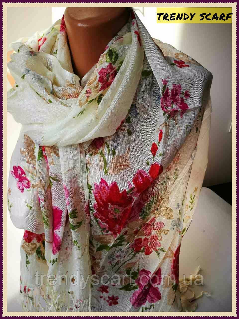 Женский Палантин шарф. Белый красный голубые бежевые цветы.Хлопок 180\60