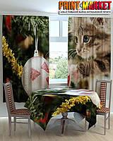 Фотошторы для кухни кот и шарик