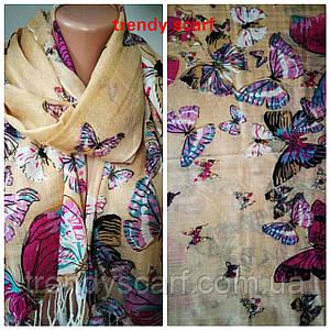 Женский Палантин шарф. Бежевый голубой фиолетовый сиреневый бабочки.Хлопок 180\60