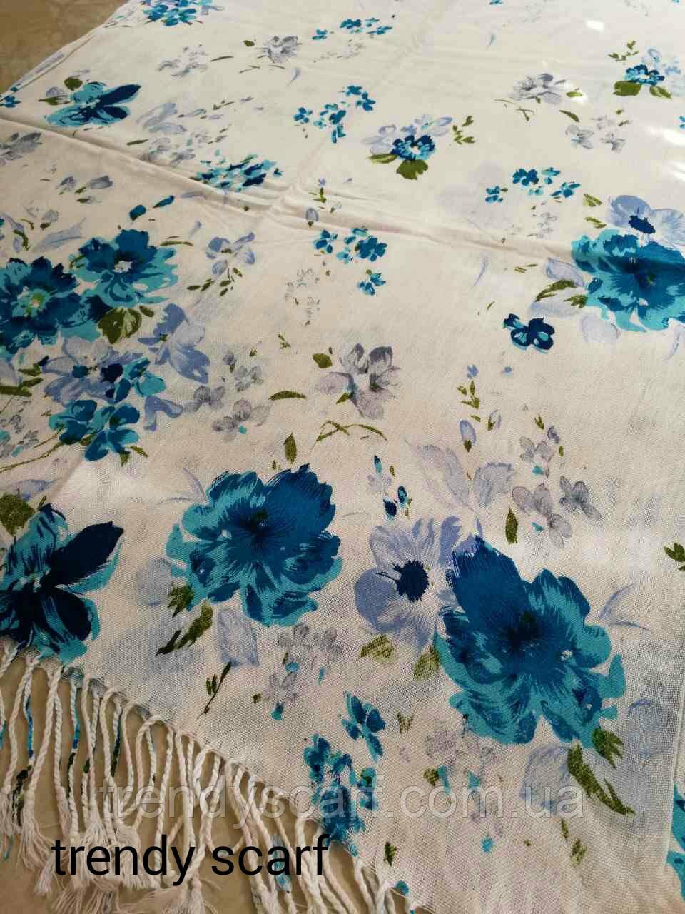 Женский Палантин шарф. Белый синий зеленый голубой цветы.Хлопок 180\60
